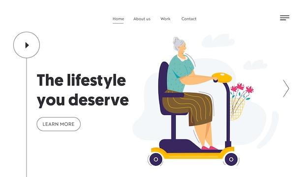 Sjabloon voor bestemmingspagina van oude vrouw op scooter.