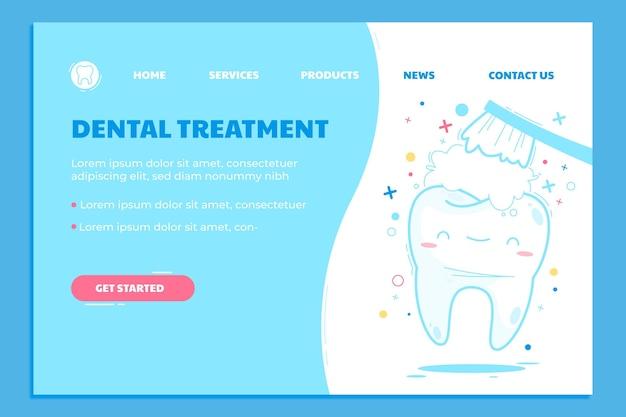 Sjabloon voor bestemmingspagina voor cartoon tandheelkundige zorg