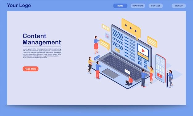 Sjabloon voor bestemmingspagina voor contentbeheer. het digitale inkomende marketing idee van de websiteinterface met illustratie. smm, startpagina-indeling voor media-advertenties. web, webpagina cartoon concept