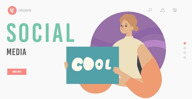Sjabloon voor bestemmingspagina voor goedkeuring door sociale media. vrouwelijk personage met banner met coole typografie in handen, zoals in netwerk, positieve mening van het publiek, tevredenheid. cartoon vectorillustratie