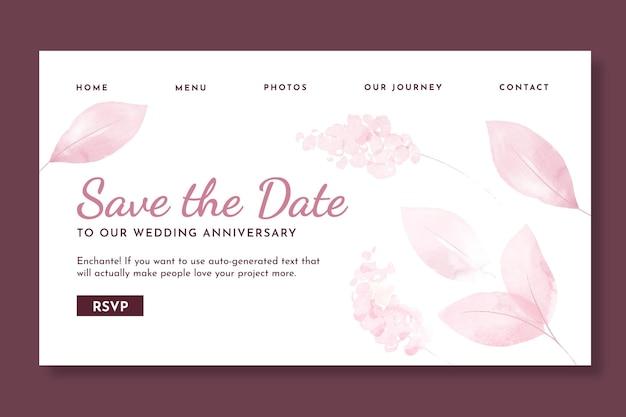 Sjabloon voor bestemmingspagina voor huwelijksverjaardag