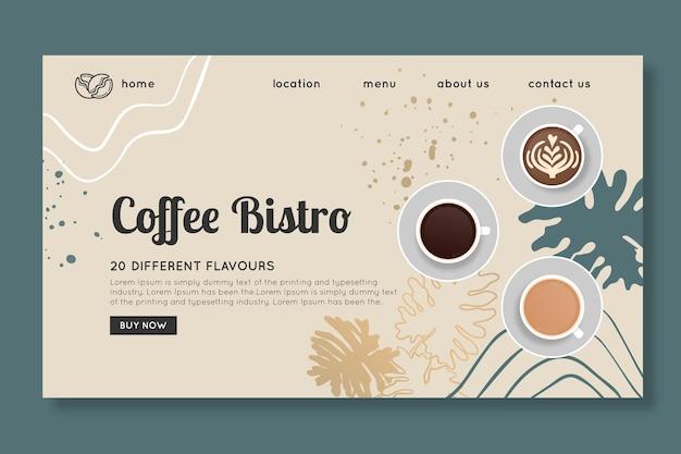 Sjabloon voor bestemmingspagina voor koffiebistro