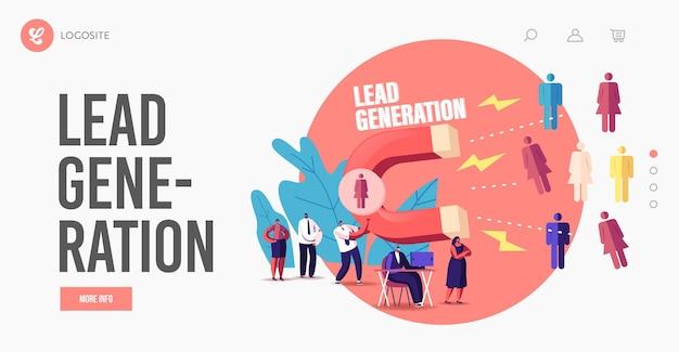 Sjabloon voor bestemmingspagina voor leadgeneratie. klein zakenmankarakter dat klanten aantrekt met enorme magneet trek en genereer inkomsten met inkomende marketingtechnologie. cartoon mensen vectorillustratie