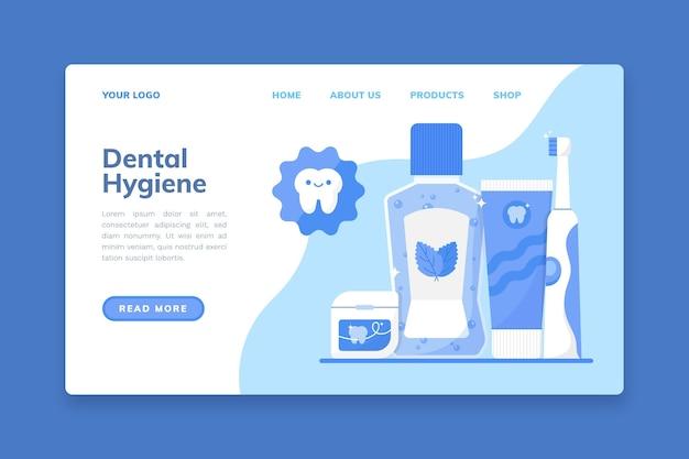Sjabloon voor bestemmingspagina voor platte tandheelkundige zorg