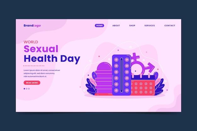 Sjabloon voor bestemmingspagina voor platte werelddag voor seksuele gezondheid
