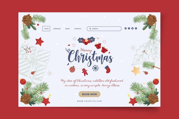 Sjabloon voor bestemmingspagina voor prettige kerstdagen en fijne feestdagen