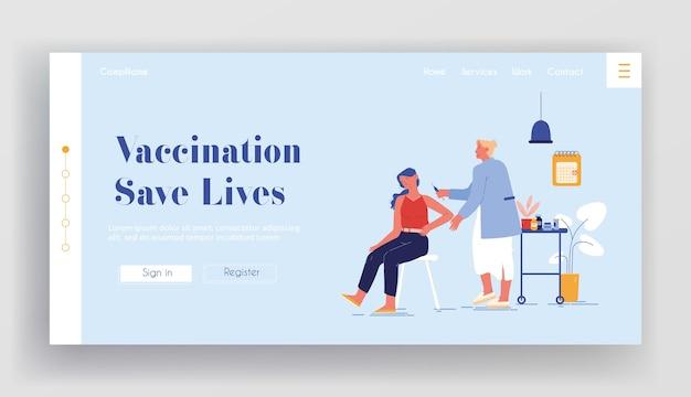 Sjabloon voor bestemmingspagina voor vaccinatie. dokter karakter injecteren shot vaccin aan patiënt arm. vrouw zitten in medisch kabinet drug toepassen. virus- en ziektepreventie. cartoon mensen