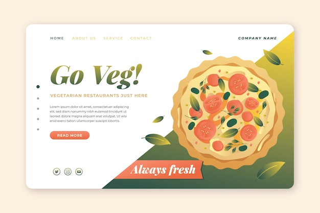Sjabloon voor bestemmingspagina voor vegetarisch eten