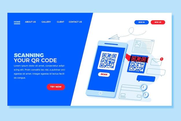 Sjabloon voor bestemmingspagina voor verificatie van qr-code