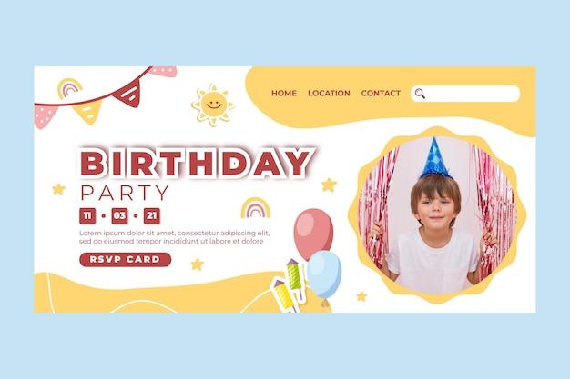 Sjabloon voor bestemmingspagina voor verjaardag van kinderen