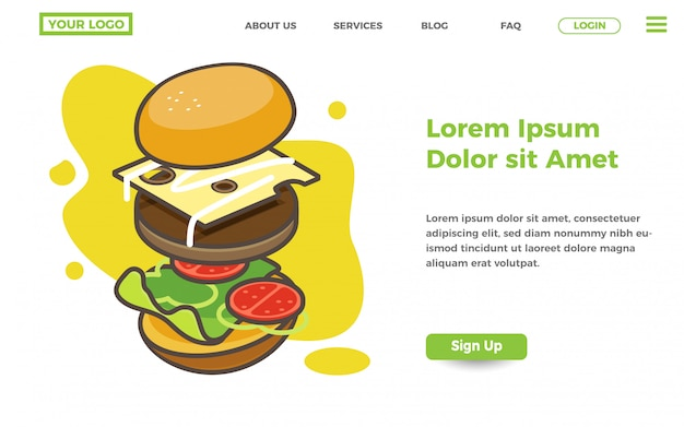 Sjabloon voor bestemmingspagina voor voedsel en hamburger
