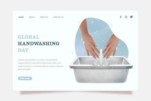 Sjabloon voor bestemmingspagina voor wereldwijde handwasdag