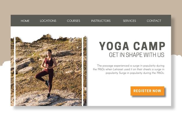 Sjabloon voor bestemmingspagina voor yogakamp