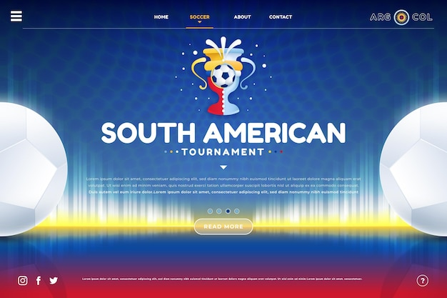 Sjabloon voor bestemmingspagina voor zuid-amerikaans voetbal met kleurovergang