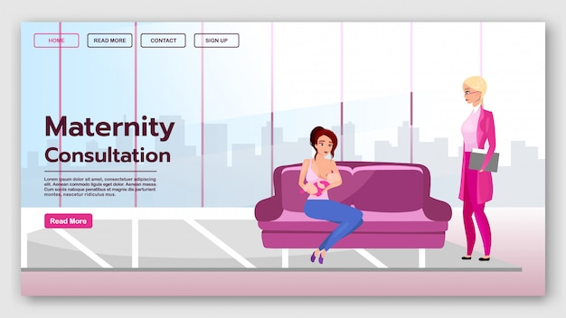 Sjabloon voor bestemmingspagina voor zwangerschapsoverleg. borstvoeding website-interface met platte illustraties. moederschap en kinderopvang homepage layout. landingspagina voor borstvoeding