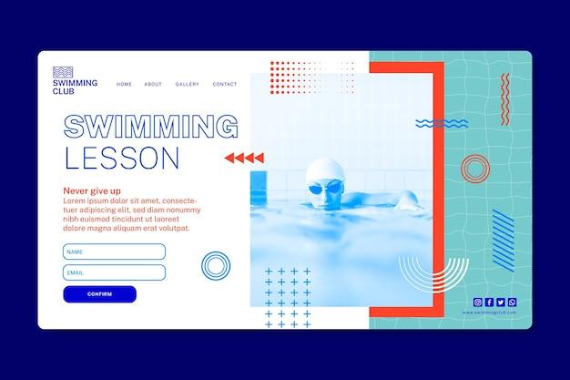 Sjabloon voor bestemmingspagina voor zwemmen