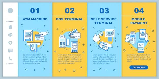 Sjabloon voor betaling onboarding mobiele webpagina's. geldautomaat. pos-terminal.