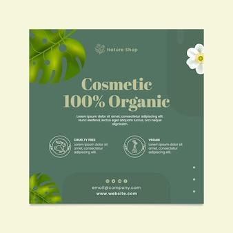 Sjabloon voor biologische cosmetische vierkante flyer