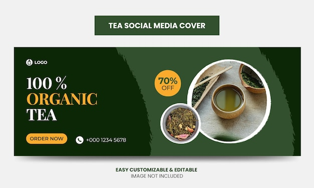 Sjabloon voor biologische thee social media facebook-omslagfoto