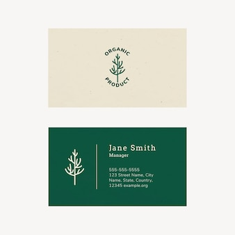 Sjabloon voor biologische visitekaartjes met lijntekeningen-logo in aardetint