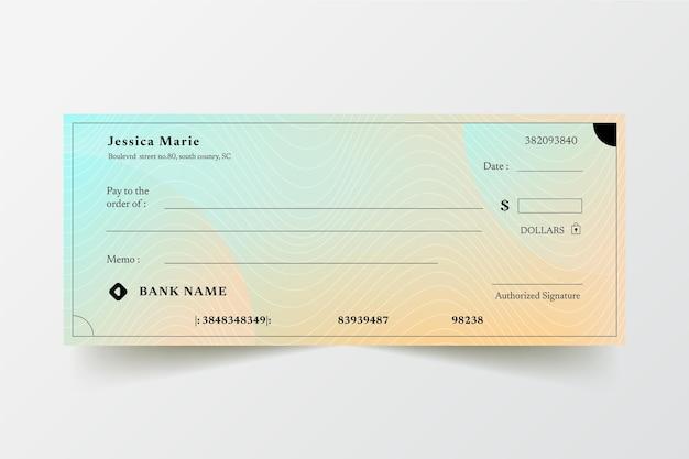 Sjabloon voor blanco cheque met verloop