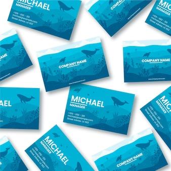 Sjabloon voor blauw oceaan restaurant visitekaartjes