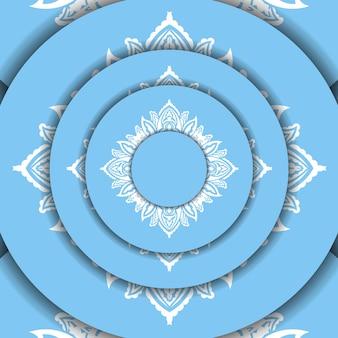 Sjabloon voor blauw spandoek met indiaas wit patroon en ruimte voor uw logo