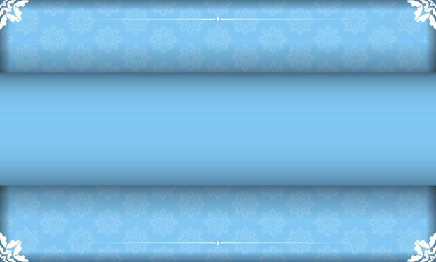 Sjabloon voor blauw spandoek met indiase witte ornamenten en plaats onder uw tekst