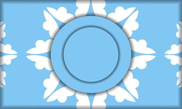 Sjabloon voor blauw spandoek met mandala wit ornament en plaats onder uw tekst