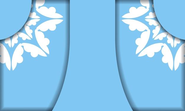 Sjabloon voor blauw spandoek met vintage wit ornament en ruimte voor uw tekst