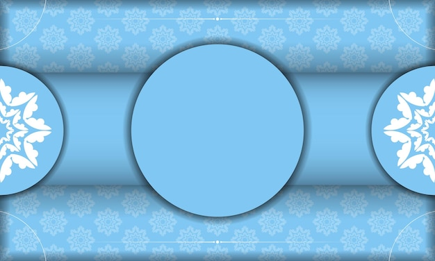 Sjabloon voor blauw spandoek met vintage wit patroon en plaats onder uw tekst