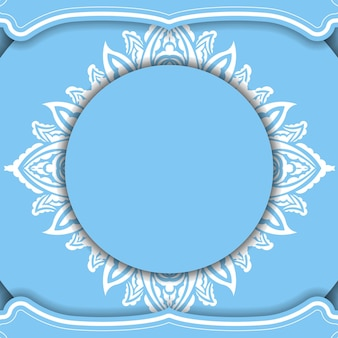 Sjabloon voor blauw spandoek met vintage wit patroon en ruimte voor uw logo