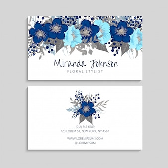 Sjabloon voor blauwe bloem visitekaartjes