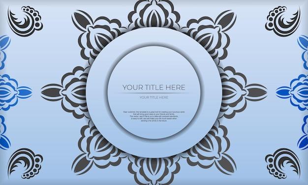 Sjabloon voor blauwe spandoek met luxe zwarte ornamenten en plaats voor uw ontwerp. uitnodigingskaartontwerp met vintage patronen.