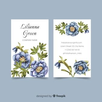 Sjabloon voor bloemen aquarel visitekaartjes