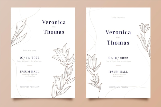 Sjabloon voor bloemen bruiloft uitnodiging