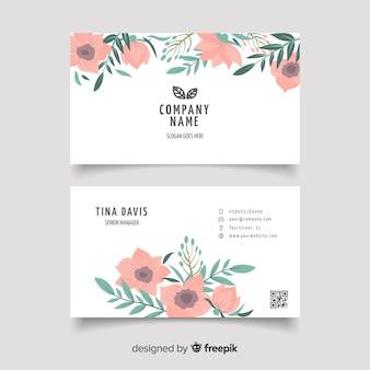 Sjabloon voor bloemen elegante visitekaartjes