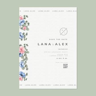 Sjabloon voor bloemen trouwkaart