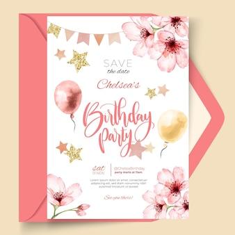 Sjabloon voor bloemen verjaardagskaart