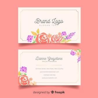 Sjabloon voor bloemen visitekaartjes in florale stijl