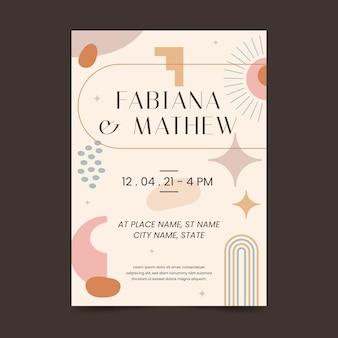 Sjabloon voor boho-huwelijksuitnodigingen