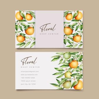 Sjabloon voor botanische aquarel oranje vruchten visitekaartjes