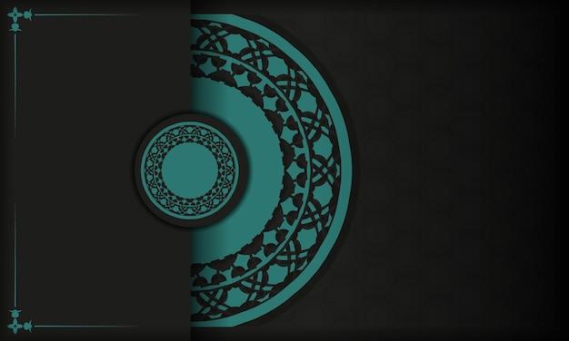 Sjabloon voor briefkaart afdrukontwerp met abstracte patronen. zwarte vectorbanner met griekse blauwe ornamenten en plaats voor uw tekst en logo.