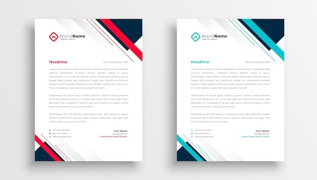 Sjabloon voor briefpapier met modern geometrisch zakelijk bedrijf