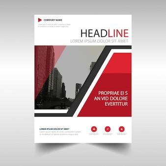 Sjabloon voor brochure met geometrische vormen, rode kleur