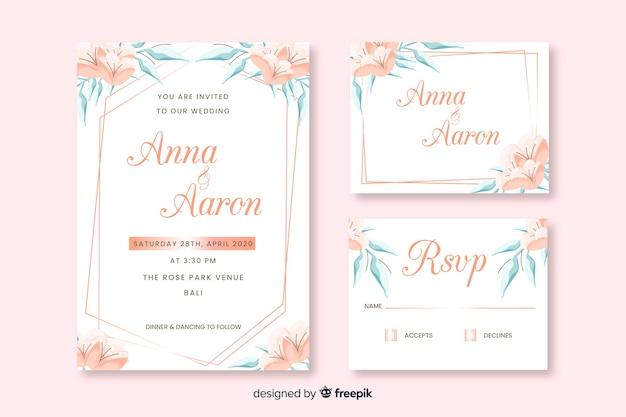 Sjabloon voor bruiloft briefpapier platte ontwerp
