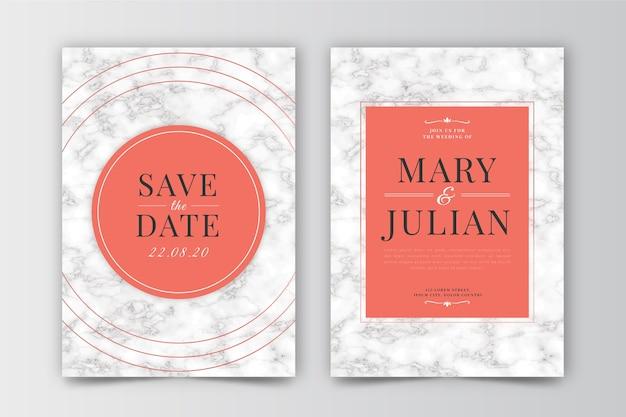 Sjabloon voor bruiloft met marmeren concept