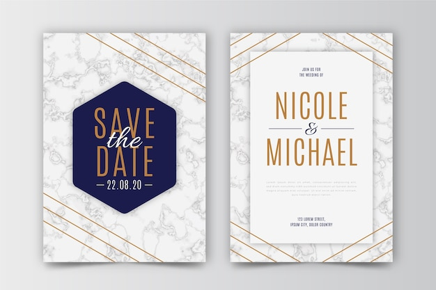 Sjabloon voor bruiloft met marmeren ontwerp