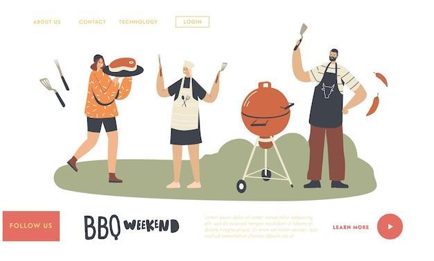 Sjabloon voor buiten bbq-bestemmingspagina. karakters die koken, worstjes en vlees eten op een barbecuemachine breng tijd door in het weekend. familie of vrienden op voortuin summer fun. lineaire mensen vectorillustratie