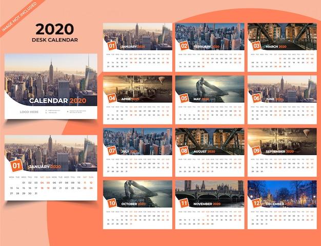 Sjabloon voor bureaukalender 2020
